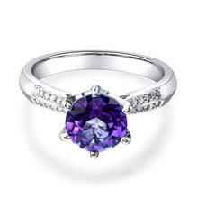 Load image into Gallery viewer, 14K White Gold Wedding Engagement Ring 2 Ct Purple Topaz 0.1 Ct Natural Diamonds