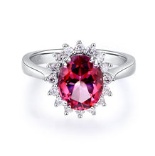 Load image into Gallery viewer, 14K White Gold Wedding Engagement Ring 2.8 Ct Pink Topaz 0.35 Ct Natural Diamond