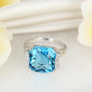 14K White Gold Luxury Anniversary Ring 9.6 Ct Cushion Swiss Blue Topaz Diamond