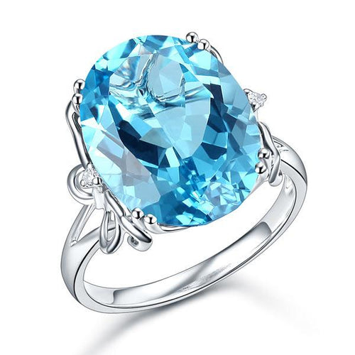 14K White Gold Luxury Anniversary Ring 10.3 Ct Oval Swiss Blue Topaz Diamond