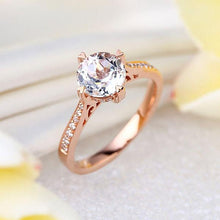 Load image into Gallery viewer, 14K Rose Gold Vintage Wedding Engagement Ring 1.2 Ct Topaz & Natural Diamonds