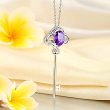Load image into Gallery viewer, 14K White Gold 2.5 Ct Purple Topaz Love Key Pendant Necklace 0.03 Ct Diamond