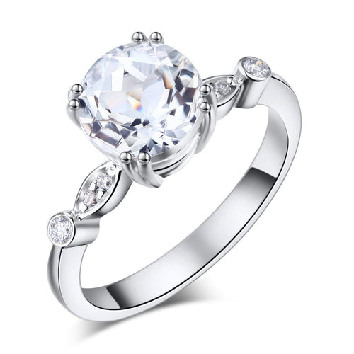 14K White Gold Wedding Engagement Ring 2 Ct Topaz 0.07 Ct Natural Diamonds