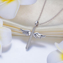 Load image into Gallery viewer, 14K White Gold Angel Wing Cross Pendant Necklace 0.08 Ct Diamonds