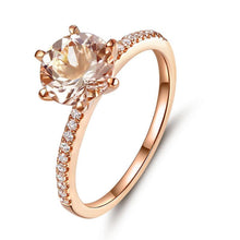 Load image into Gallery viewer, 14K Rose Gold Wedding Engagement Ring Peach Morganite Natural Diamond