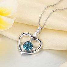 Load image into Gallery viewer, Fine 14K White Gold London Blue Topaz Heart Pendant Necklace 0.04 Ct Diamond