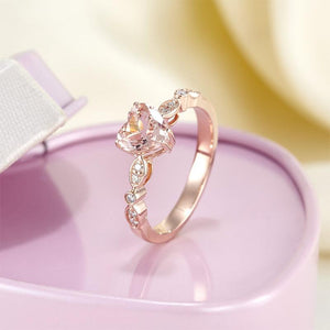 14K Rose Gold Engagement Ring 7 mm Heart Peach Morganite 0.1 Ct Natural Diamonds