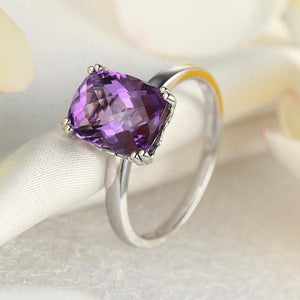 Fine 14K White Gold Wedding Promise Anniversary Engagement Ring Purple Amethyst