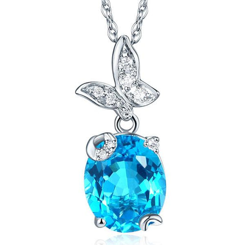 14K White Gold 3. Ct Swiss Blue Topaz Butterfly Pendant Necklace 0.17 Ct Diamond