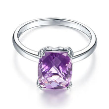 Load image into Gallery viewer, Fine 14K White Gold Wedding Promise Anniversary Engagement Ring Purple Amethyst
