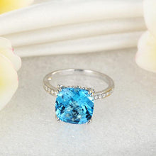 Load image into Gallery viewer, 14K White Gold Wedding Anniversary Ring 4.5 Ct Cushion Swiss Blue Topaz Diamond
