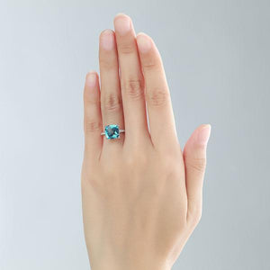 14K White Gold Wedding Anniversary Ring 4.5 Ct Cushion Swiss Blue Topaz Diamond