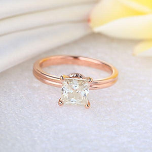 14K Rose Gold 1 Carat Forever One Moissanite Diamond Wedding Engagement Ring