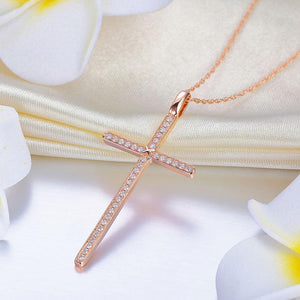 14K Rose Gold Cross Pendant Necklace 0.3 Ct Diamonds