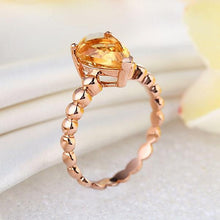 Load image into Gallery viewer, 14K Rose Gold Wedding Engagement Solitaire Ring 1.6 Ct Pear Citrine