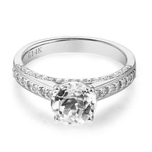 Load image into Gallery viewer, 14K White Gold Wedding Engagement Ring 1.2 Ct Topaz 0.42 Ct Natural Diamonds