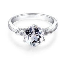 Load image into Gallery viewer, 14K White Gold Wedding Engagement Ring 2 Ct Topaz 0.038 Ct Natural Diamonds