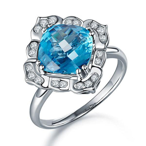 Art Deco 14K White Gold Wedding Anniversary Ring 3 Ct Swiss Blue Topaz Diamond