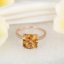Load image into Gallery viewer, 14K Rose Gold Luxury Wedding Anniversary Ring Yellow 3.6 Ct Cushion Citrine Diamond