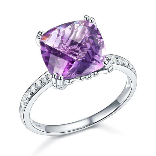 14K White Gold Engagement / Anniversary Ring Purple Cushion Amethyst Diamond