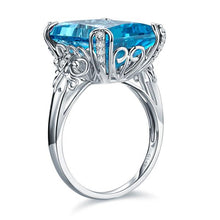 Load image into Gallery viewer, 14K White Gold Luxury Wedding Anniversary Ring 13 Ct Swiss Blue Topaz Diamond