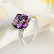 Load image into Gallery viewer, 14K White Gold Engagement / Anniversary Ring Purple Cushion Amethyst Diamond
