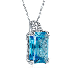 Load image into Gallery viewer, Vintage Style 14K White Gold 13 Ct Swiss Blue Topaz Pendant Necklace 0.1 Ct Diamond
