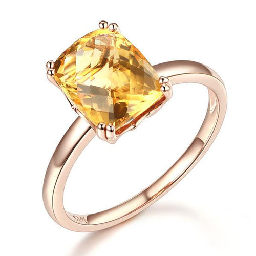 Fine 14K Rose Gold Wedding Promise Anniversary Engagement Ring Yellow Citrine