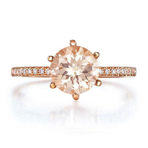 14K Rose Gold Wedding Engagement Ring Peach Morganite Natural Diamond