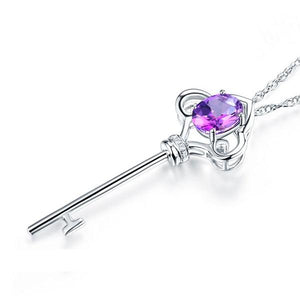 14K White Gold 2.5 Ct Purple Topaz Love Key Pendant Necklace 0.03 Ct Diamond