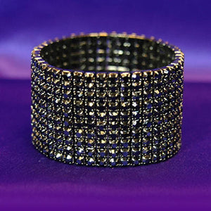 10 Row Prom Fashion Black Crystal Bangle Bracelet XB921