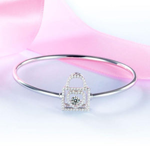 Rebel. Heart Lock Dancing Stone Bangle Solid 925 Sterling Silver Good for Bridal Bridesmaid Gift XFB8011