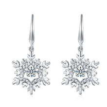 Load image into Gallery viewer, Rebel. Classic Dancing Stone Dangle Drop Earrings Snowflake 925 Sterling Silver Wedding Gift XFE8132