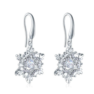 Rebel. Classic Dancing Stone Dangle Drop Earrings Snowflake 925 Sterling Silver Wedding Gift XFE8132