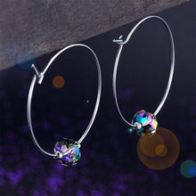 Load image into Gallery viewer, Rebel. Top Quality 925 Sterling Silver Hoop Earrings AB Austrian Crystal Party Birthday Gift XFE8136