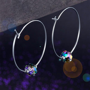 Rebel. Top Quality 925 Sterling Silver Hoop Earrings AB Austrian Crystal Party Birthday Gift XFE8136
