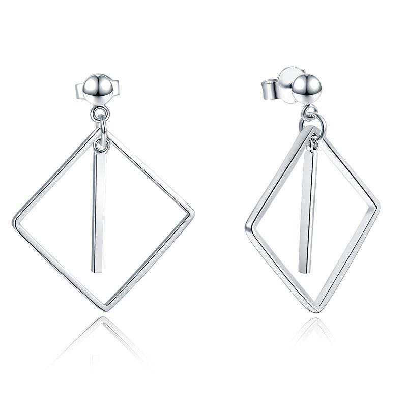 Rebel. 925 Sterling Silver Earrings Dangle Square Fashion Stylish Jewelry XFE8139