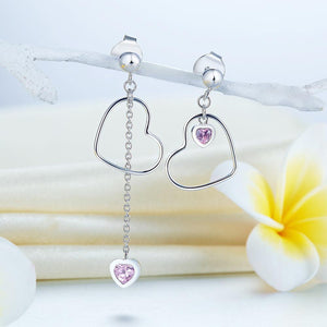 Rebel. 925 Sterling Silver Dangle Drop Pink Heart Earrings XFE8152