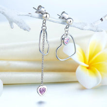 Load image into Gallery viewer, Rebel. 925 Sterling Silver Dangle Drop Pink Heart Earrings XFE8152
