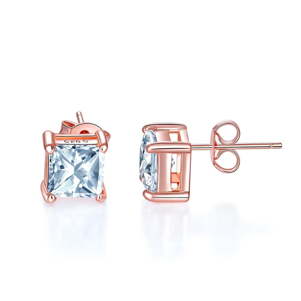 Rebel. 1 Ct Princess Cut Created Diamond Stud Earrings 925 Sterling Silver Rose Gold Plated XFE8153
