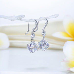 Rebel. Solid 925 Sterling Silver Earrings Cube Created Diamond Fashion Bridal Bridesmaid