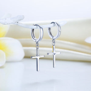Solid 925 Sterling Silver Dangle Cross Earrings