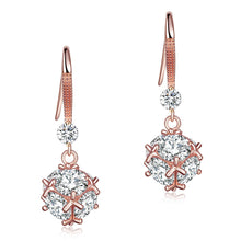 Load image into Gallery viewer, Solid 925 Sterling Silver Earrings Rose Gold Plated Created Diamonds