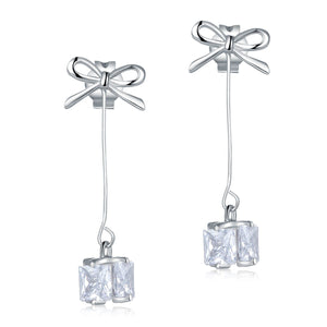 Solid 925 Sterling Silver Bowknot Earrings Dangle Drop Simple Elegant