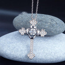 Load image into Gallery viewer, Rebel. Dancing Stone Cross Pendant Necklace 925 Sterling Silver Vintage Style Gothic XFN8048