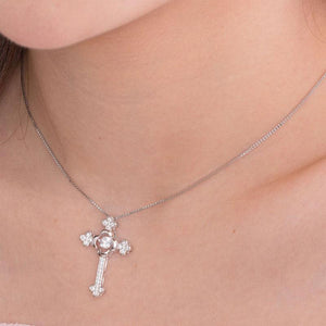 Rebel. Dancing Stone Cross Pendant Necklace 925 Sterling Silver Vintage Style Gothic XFN8048