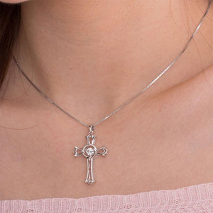Dancing Stone Heart Cross Pendant Necklace 925 Sterling Silver XFN8049