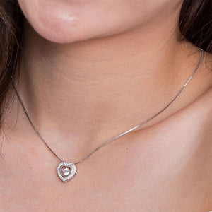 Rebel. Dancing Stone Heart Pendant Necklace 925 Sterling Silver Good for Bridal Bridesmaid Gift XFN8051