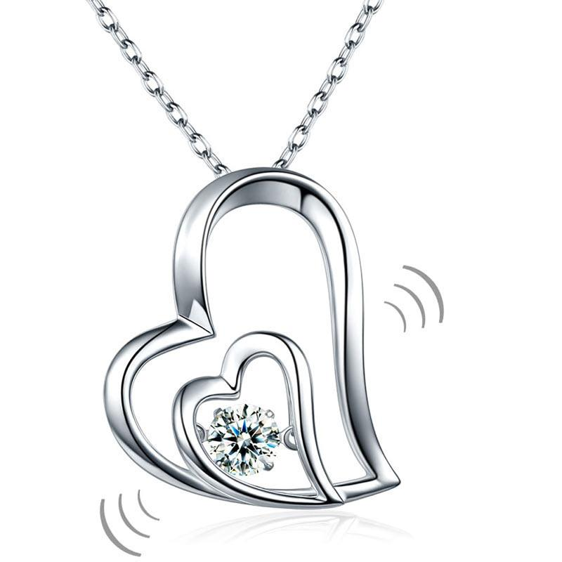 Dancing Stone Double Heart Pendant Necklace 925 Sterling Silver Good for Bridal Bridesmaid Gift XFN8053