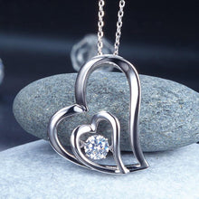 Load image into Gallery viewer, Dancing Stone Double Heart Pendant Necklace 925 Sterling Silver Good for Bridal Bridesmaid Gift XFN8053